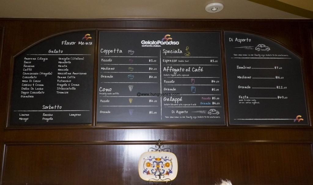 Gelato Paradiso menu.