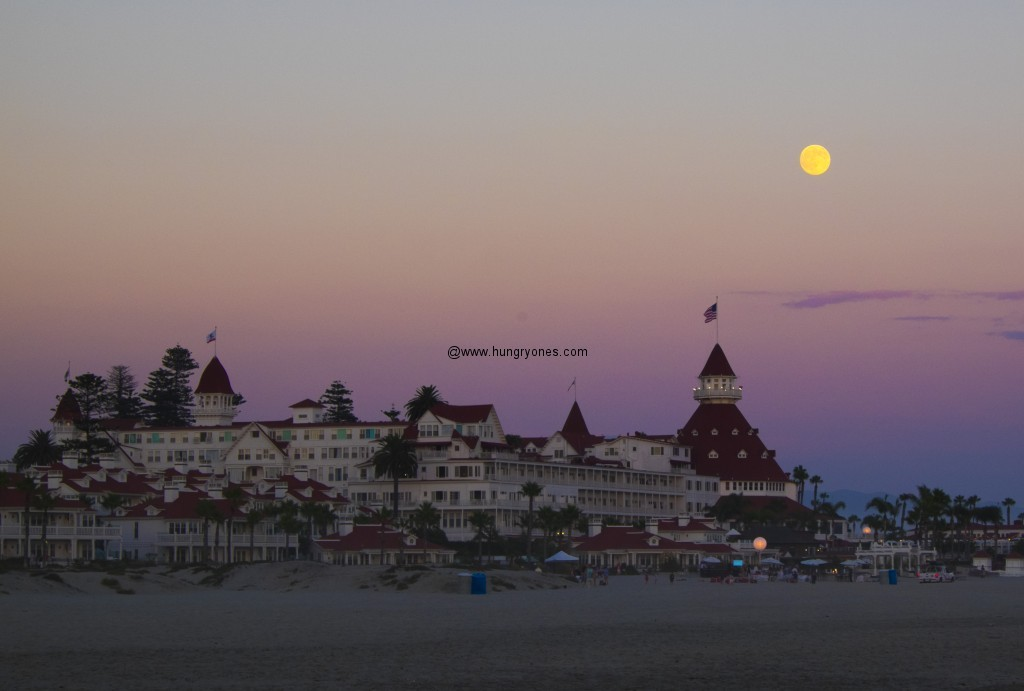 Moonrise over the Hotel Del Coronado.