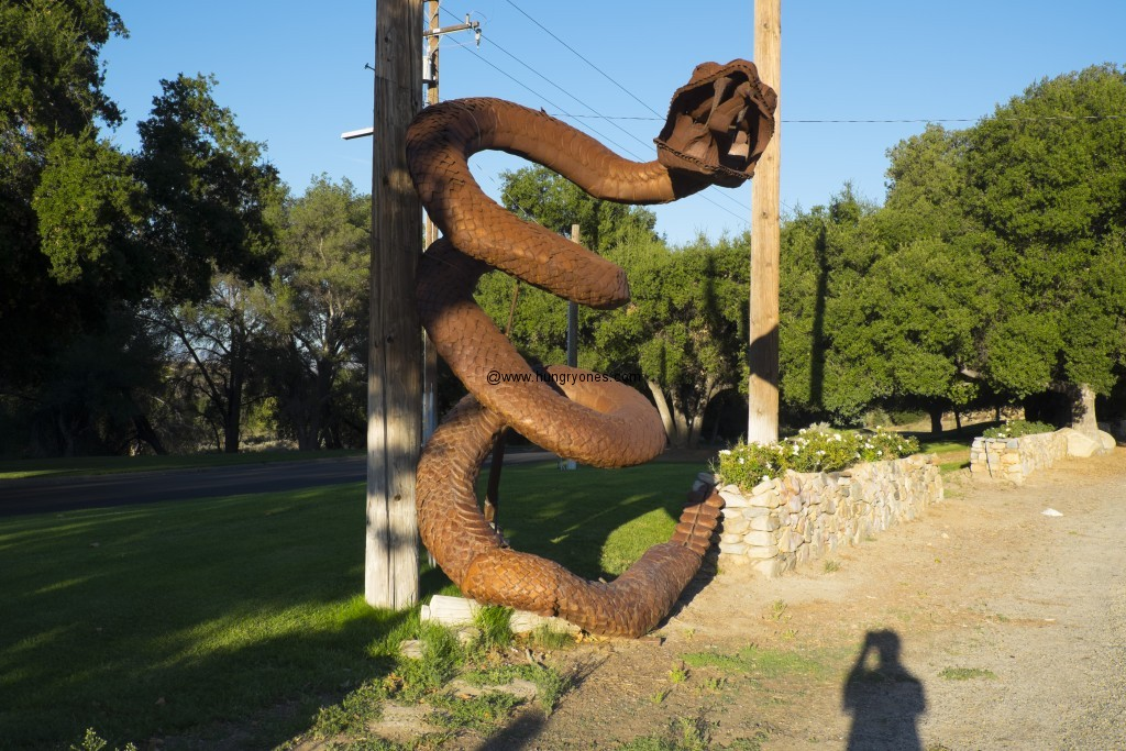 Metal serpent helps guard the entrance to Vail Lake Resort.