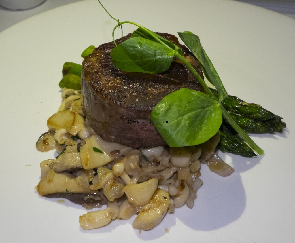 Dry aged Prime filet mignon with mushrooms.