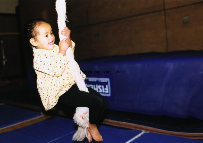 My kid in gymnastics class.