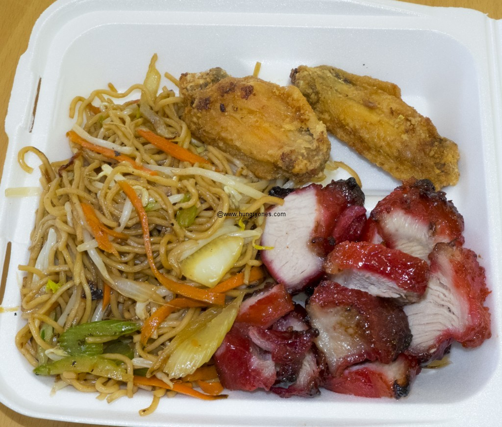 Chow mein , fried chicken wings, bbq pork