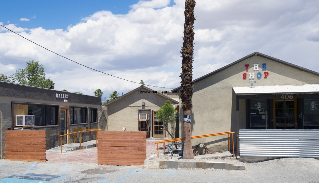 The courtyard. Brown's BBQ is the center building.