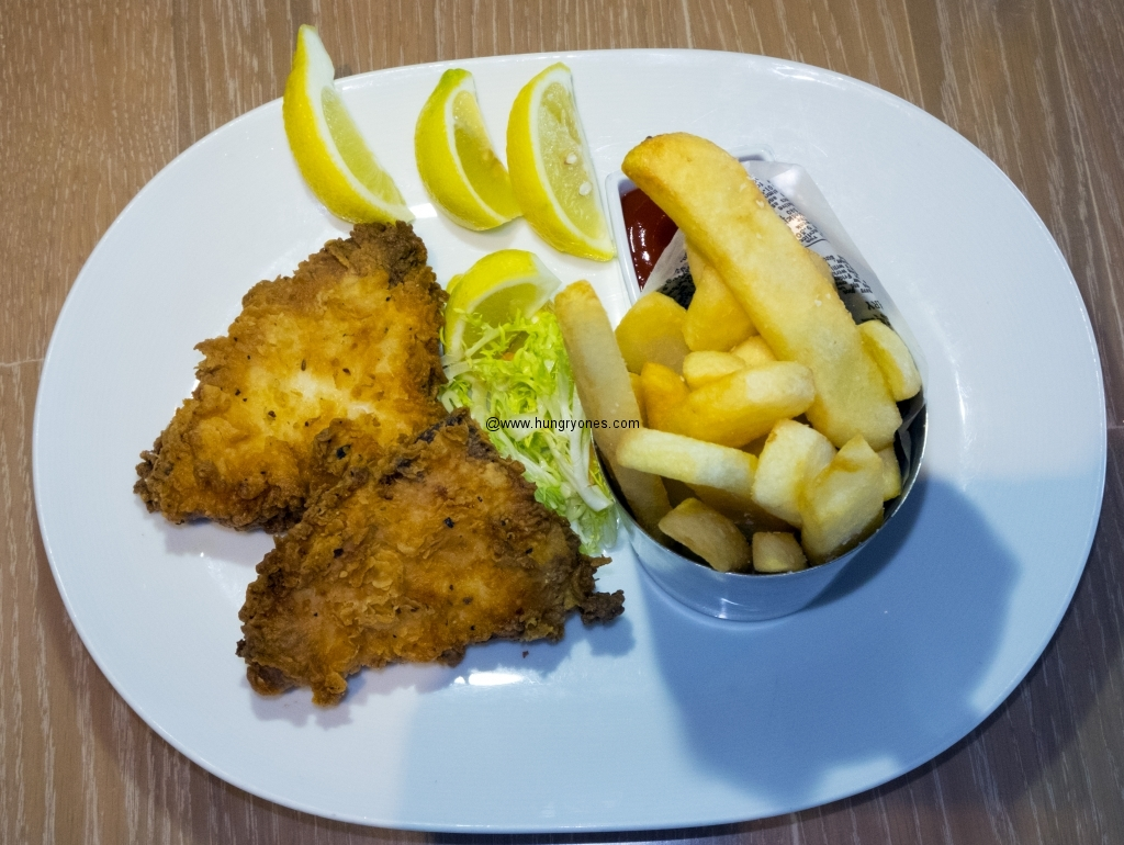fried seabass fish and chips