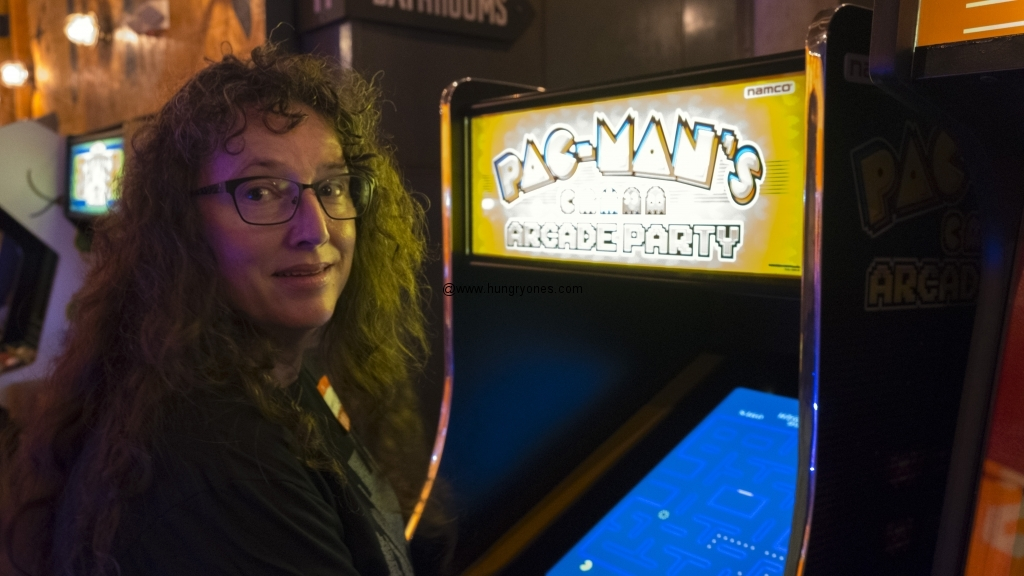 Maggie loves playing PacMan